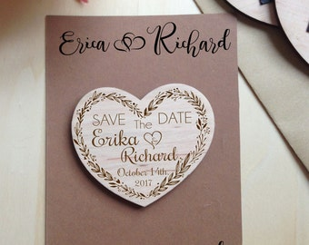 Save the Date magnets  10 pieces  Wooden Engraved Save the Date Heart Wood Save the Date Rustiс Save the Date With Envelopes
