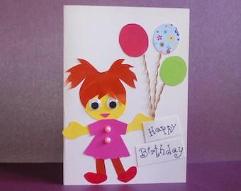 child birthday card, girl birthday card, kids birthday card, card for girl, card for daughter, kids greeting cards, bday card for kid