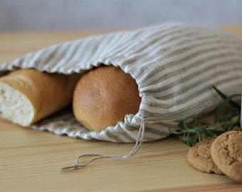 Striped Natural Linen Bread Bag