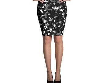Black Skirt, Grey Skirt, Jersey Skirt, Abstract Print Skirt, Fitted Skirt, Bodycon Skirt, Pencil Skirt, Printed Skirt, Casual Skirt,