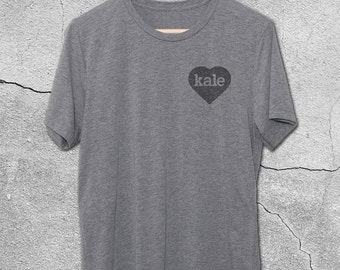 Heart Kale Vintage T-Shirt - Vintage Graphic Tees - Funny Kale Shirts - Kale Love Tshirt - gifts for men - gifts for foodies