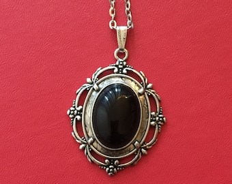 25x18 Black Onyx Cabochon Necklace, Black Pendant Necklace, Black Onyx Cabochon