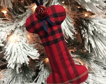 "Christmas plaid/tartan large ""bone"" for Santa's favorite puppy"