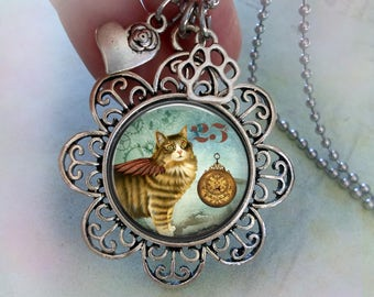 Winged Steampunk Cat Necklace w-Heart and Paw Charms, Cat Lover Gift, Steampunk Gift, Black Cat Necklace, Birthday Gift, Women's Gift, Teens