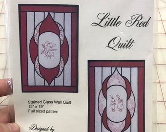 "Quilt pattern ""Little Red Quilt"" Stained Glass Wall Quilt - finished size 12"" x 19"""