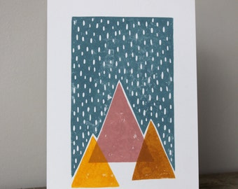 A5 Lino Print -Snowy Mountains Pink and Yellow