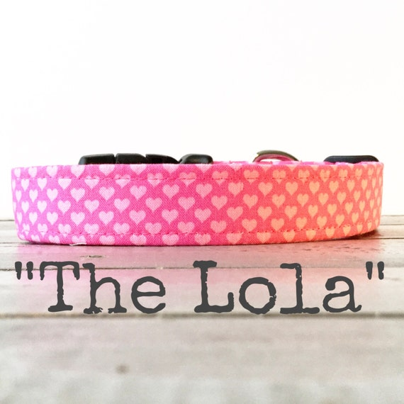 Cute DOG COLLAR, Dog Collar for Girls, Pink Heart Dog Collar - The Lola