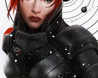Mass Effect 3 Femshep N7 Day Open Edition Art Print 11x17 inch