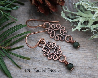 Celtic Green Serpentine Copper Earrings, Copper Wire Earrings, Rustic Earrings, Boho, Gypsy Earrings, Hippie Earrings
