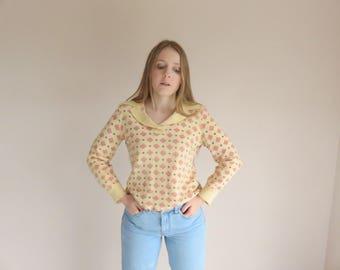 70s Cream Dream Long Sleeve Wool Jumper / Diamond Print Winter Knit 1970s Clothing / Sweater Polo Collar