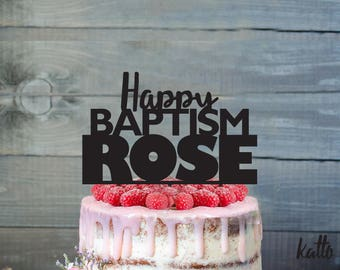 Customizable Baptism cake topper- Personalized Baptism Cake Topper- Church Baptism  Cake Topper -Baptism party cake topper
