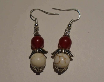 Red & White Angel Earrings