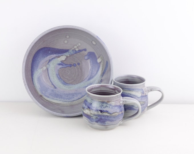 Handmade pottery set, Ocean or Sea coloured vintage pottery bowl and 2 mugs in blue, purple / turquoise, rustic palette stoneware snack set