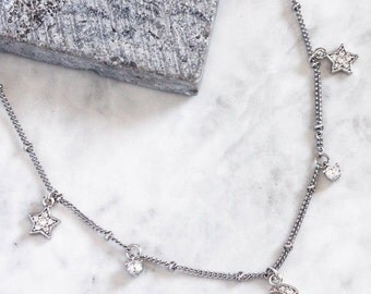 MAIA. Moon and Star Fancy Chain Necklace in Silver