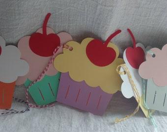 Set of five Cupcake Gift Tags