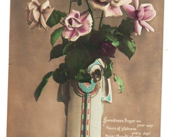Vintage Real Photo Postcard, BIRTHDAY,ROSES and Lovely Art Deco VASE, c1916