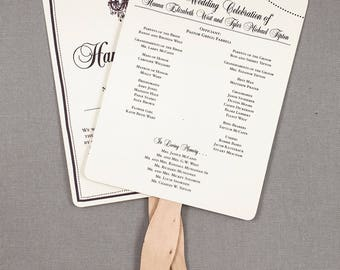 Rustic Wedding Program Fans with Elegant Chandelier and String Lights