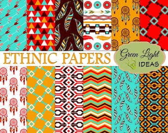 Ethnic Digital Paper, Fall Boho Tribal Digital Paper, Commercial Use Tribal Paper, Tribal Ethnic Backgrounds, Boho Papers, Boho Scrapbook