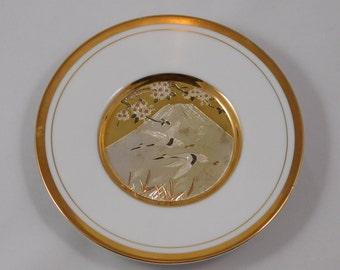 Two Cranes Flying Plate, Small Chokin, 6 inches diameter, Japan, Metal engravings