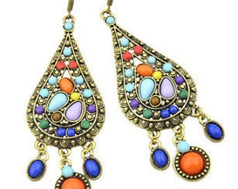 Multi Coloured Bohemian Chandelier Earrings EA6010i