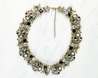 Zeena Black & Gold Rhinestone Statement Necklace