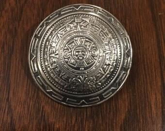 Sterling Mayan Calendar Pin/Pendant Combination