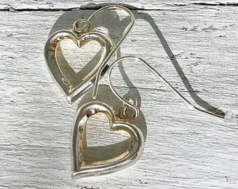 Vintage Sterling Silver Open Heart Dangle Earrings