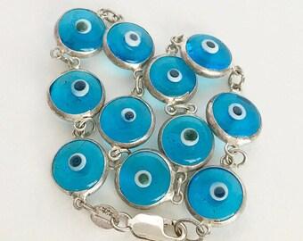 """Vintage Sterling Silver Evil Eye Handmade Glass Bead Linked Bracelet 7 1/2"""" Gift for Her"""