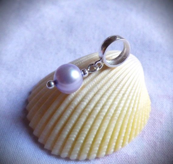 Lilac Pearl, Sterling Silver, Charm Bead, European Bracelet, Dangle Addition, Large Hole, Classic Jewelry, Mauve Jewellery - CD17008