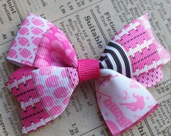 Pink Football Hair Bow, girls hair bows, hair accessories, football party favors, cute hair, sports hair bows, football party, loot bag