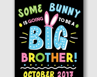 Easter Pregnancy Announcement, Easter Big Brother Announcement, Easter Big Brother Sign, Printable Second Baby Announcement, Baby Reveal