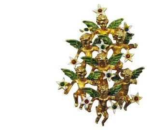 Angels Christmas Tree Pin, Heavenly Host Cluster with Stars, Enamel & Rhinestone, Mid-Century
