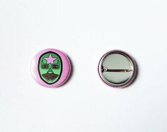Luchador 25 mm Badge, Pink and Green, Lucha Libre Button, Masked Wrestler Pin, Lucha Underground, WWE, Wrestling Mask Pinback Button