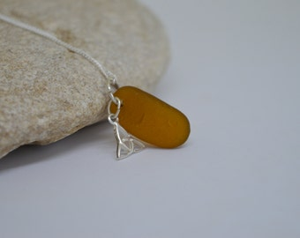 Seaglass Necklace,Sterling Silver Necklace,Brown Sea Glass,Northumbrian Sea Glass, Seaglass Jewelry,Pendant,Handmade Jewllery,Jewellery Gift