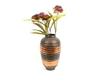 60s Vintage Rosenthal Netter Striped Brass Vase 14.16