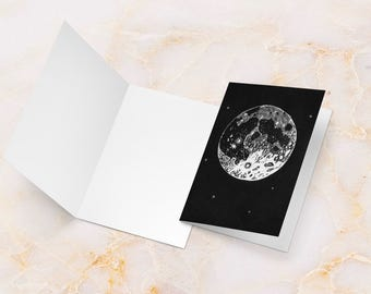 Moon greetings card, moon card, cards for him, moon birthday card, space card, space birthday card, card for scientist, cards for her, scifi