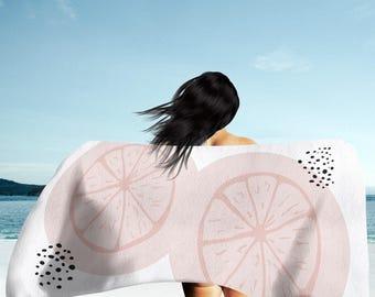 Pink Grapefruit Beach Towel - white