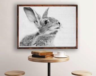 Rabbit Print, Bunny Print, Rabbit Photography, Black And White Animal Print, Rabbit Wall Decor, Woodland Animals, Nursery Art, Printable Art