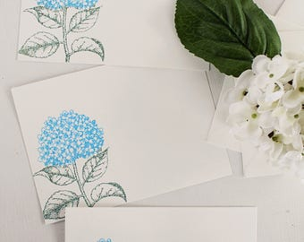 Embossed Note Cards, Blue Hydrangea Flower, Flat Note Cards, Stationery Set