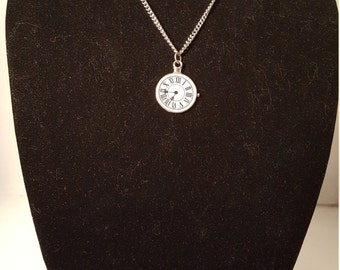 Steampunk Clock Face Pendant, Silver Finish on Silver Finish Chain