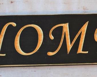 Home Custom Carved Wooden Sign in Black