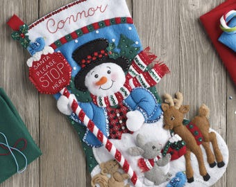"Bucilla Santa Stop Here 18"" Christmas Stocking Felt Applique Kit, 86707"