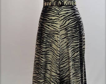 1960's Zebra print long, short sleeved dress with peep hole collar. UK size small  8