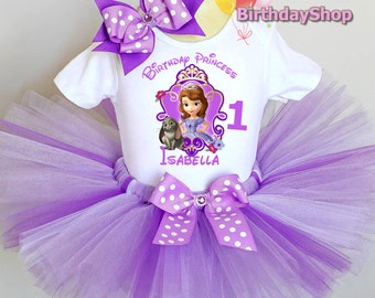 Sofia the First Birthday Outfit / 1st, 2nd Birthday Tutu Outfit / Sofia tutu Set / Tutu Birthday Outfit / Birthday Party Outfit, Sofia First