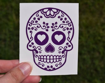 Sugar Skull Decal, Floral Sugar Skull Sticker, Day Of The Dead Decal, Skull Decal, Decal for Women, Skull Tumbler Decal, Skull Car Decal,