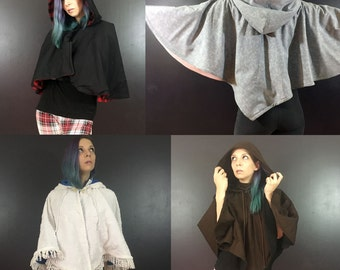 Custom Fleece Capelet  made to order in choice of colours and size.  Winter Larp Cape, Half Cloak