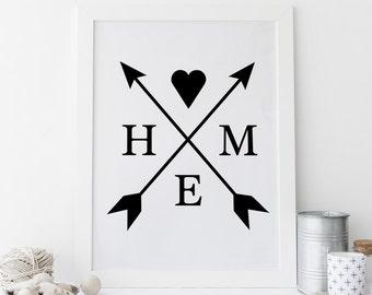 Home Sweet Home, crossed arrows, gallery wall art