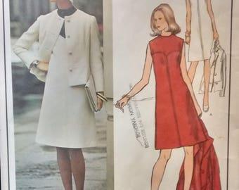 Vintage 1970s Vogue Paris Original Pattern #2833 Designer Molyneux, Misses Dress and Jacket Pattern, Size 12 Bust 34 UNCUT