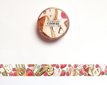 Cookies Washi Tape, Sweet Dessert Washi Roll, Food Deco Tape, Tea Rose Masking Tape