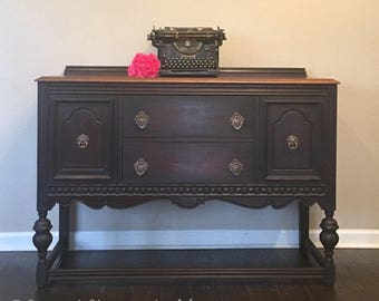 SOLD  Antique Buffet Painted Black Washed with Espresso Stained Top